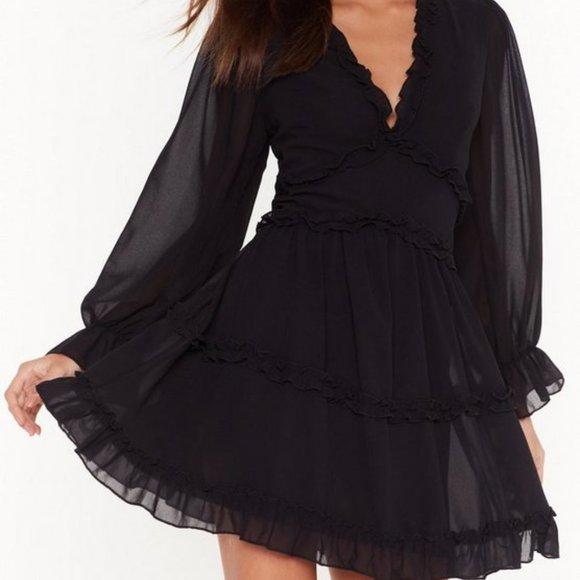 NastyGal Black Ruffle Mini Dress